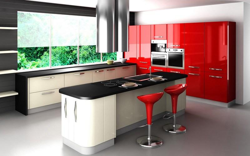 Стильная кухня со стойкой и крутящимися стульями