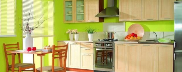 Современная кухня в салатовых тонах