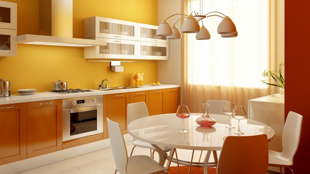 Кухня в современном стиле с ящиками, шкафчиками и столиком.