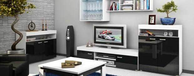Мебель для гостиной комнаты в черно-белых цветах
