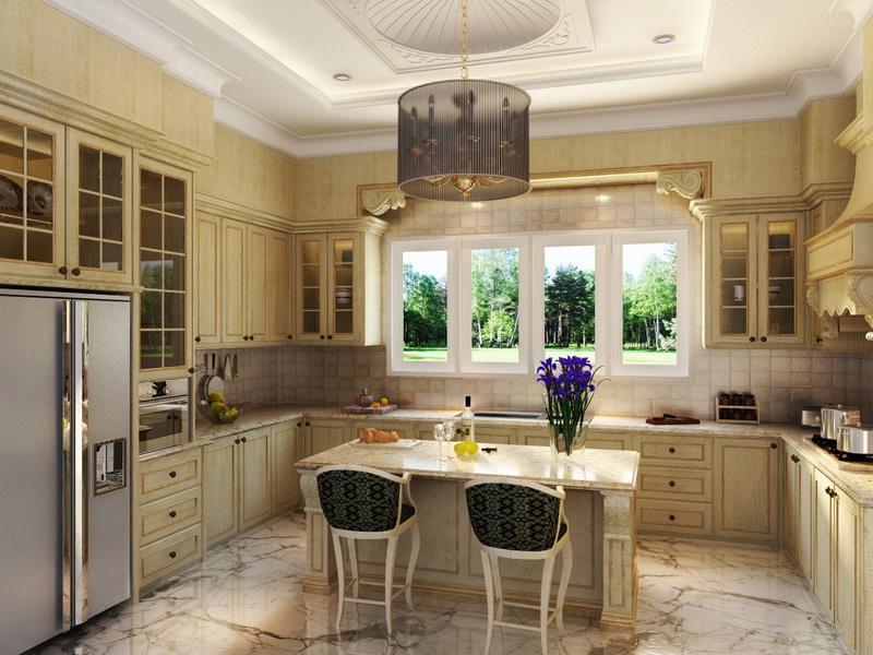 Светло-бежевая кухня в классическом стиле