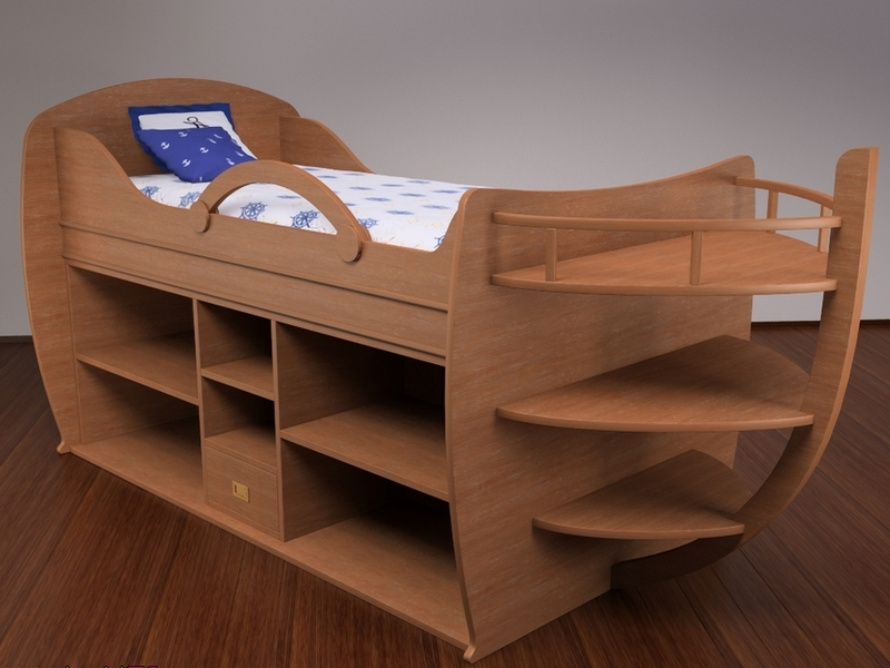 Кровать в виде корабля для дошкольника