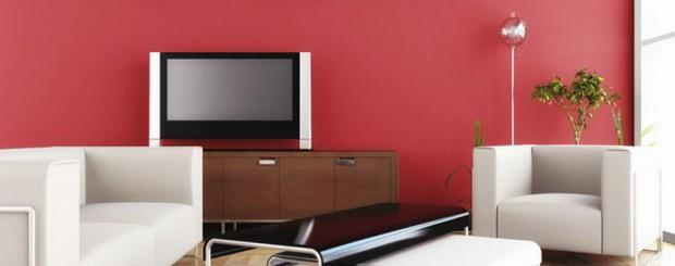 Стильная гостиная красно-белого цвета