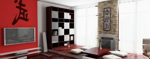 Гостиная в японском стиле красно-белого цвета