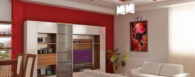 Дизайн интерьера гостиной красного и белого цвета