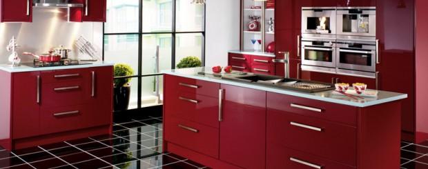 Дизайн интерьера кухни в стиле модерн бордового цвета