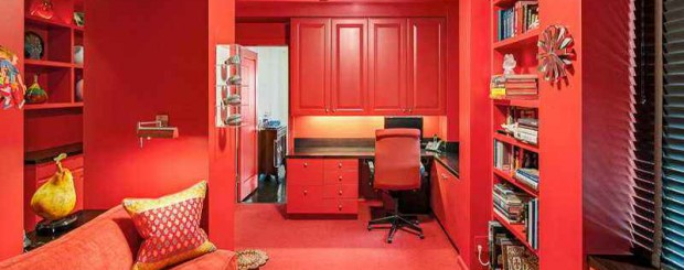 Дизайн интерьера рабочего кабинета красного цвета