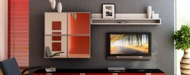 Дизайн интерьера гостиной красно-чёрного цвета