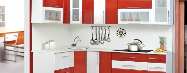 Дизайн интерьера кухни светло-красного и белого цвета