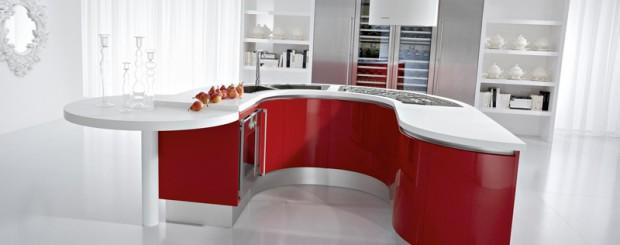 Дизайн интерьера кухни белого и красного цвета