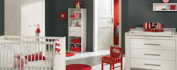 Дизайн интерьера детской комнаты красно-белого цвета