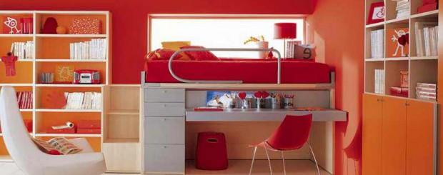 Дизайн интерьера детской комнаты красного и оранжевого цвета