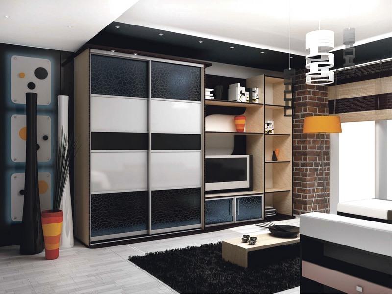 Дизайн шкафы купе в зале