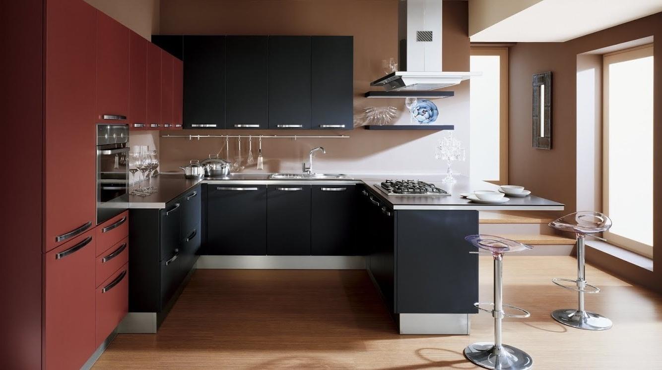 Черно бордовая кухня