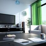 Гостиная в стиле хай-тек с мебелью чёрного цвета