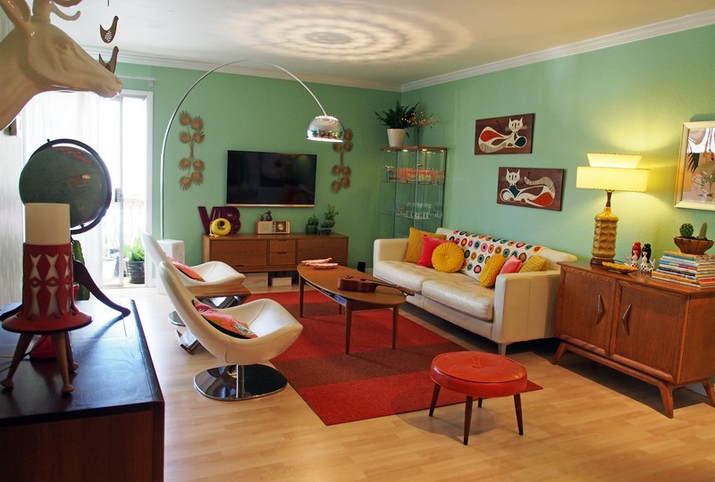 Гостиная комната в стиле ретро