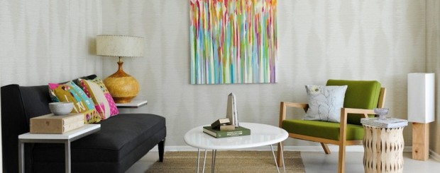 Винтажная гостиная с мебелью в стиле ретро