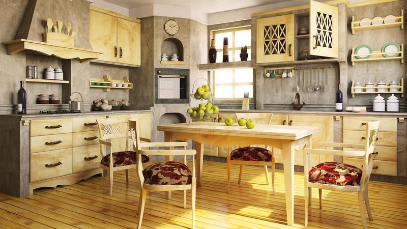 Интерьер кухни в античном стиле из натурального дерева